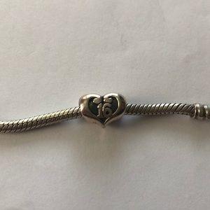 """16"" heart pandora bracelet charm"